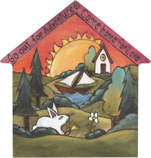 "House Shaped Plaque –  ""Go out for Adventure, Come home for Love"" house shaped plaque with landscape, sailboat and rabbit"
