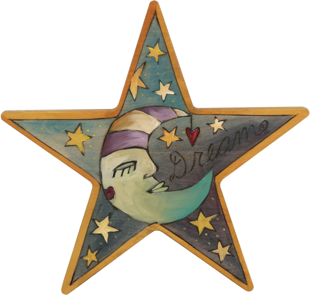 "Star Shaped Plaque –  Star Shaped plaque with sleeping mister moon and stars, ""Dream"""