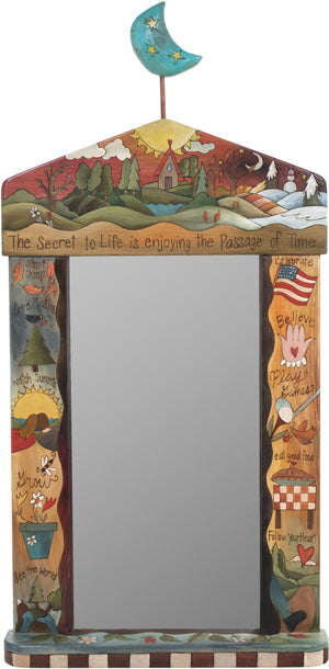 "Large Mirror –  ""The Secret to Life is Enjoying the Passage of Time"" mirror with the changing of the four seasons landscape motif"