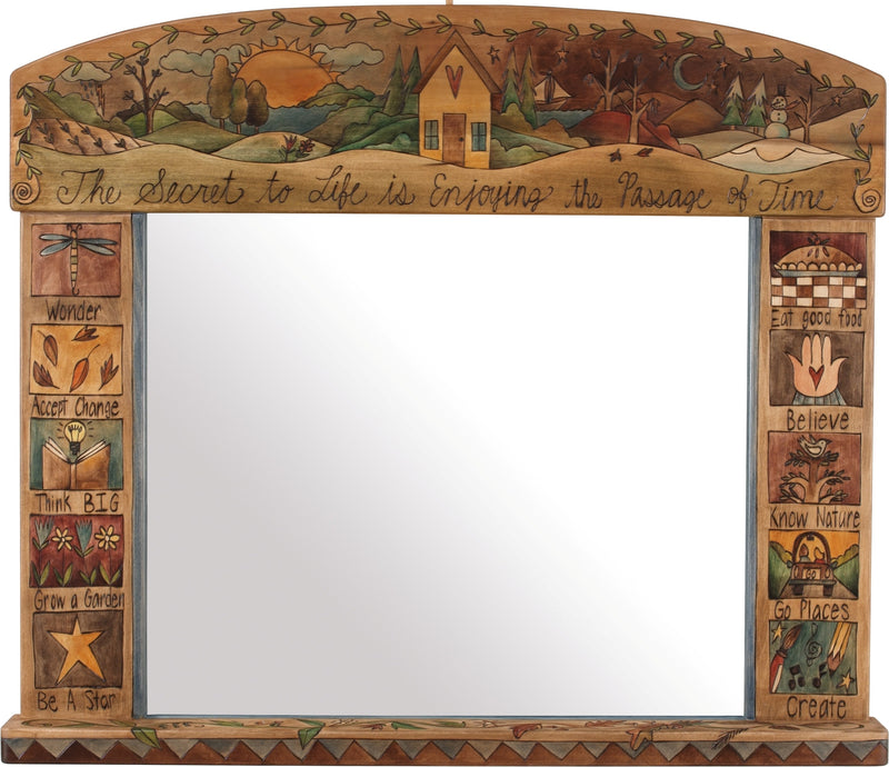 Large Horizontal Mirror –  Beautiful neutral four seasons landscape mirror top motif with boxed icons along the sides