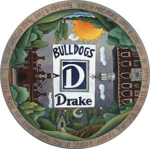 "Drake University 20"" Lazy Susan –  Drake Bulldogs landscape themed lazy susan with college buildings"