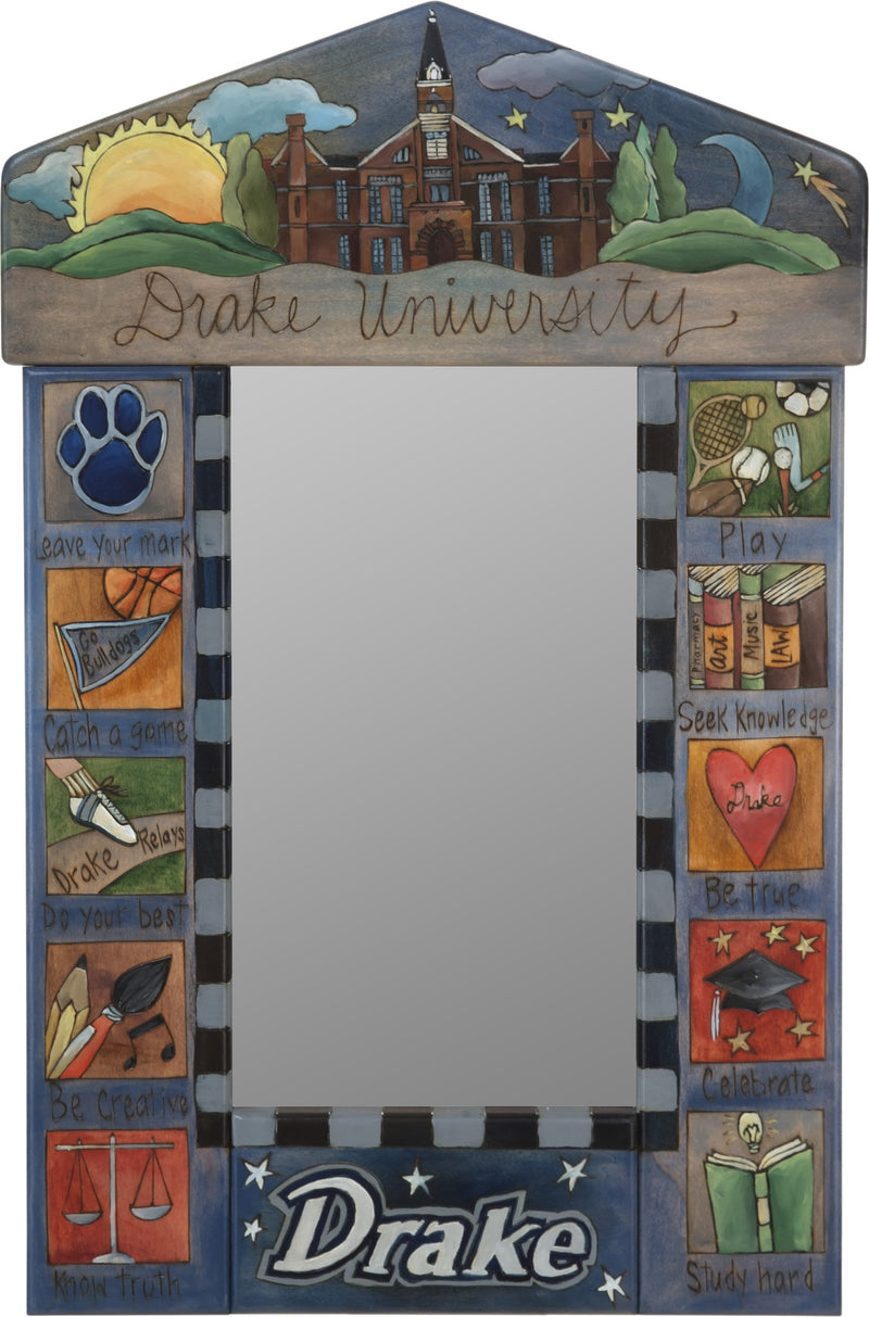 "Drake Univerisity Small Mirror –  ""Drake University"" mirror with colorful block icons honoring a local university"