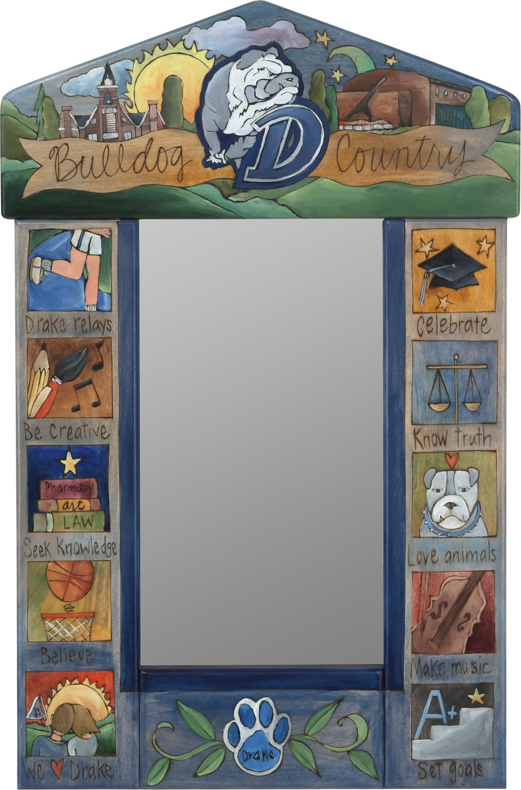 "Drake University Small Mirror –  ""Bulldog Country"" mirror with colorful block icons honoring Drake University"
