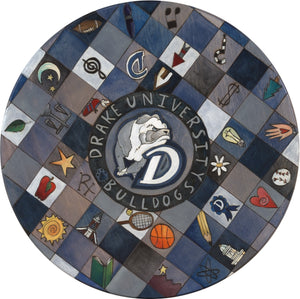 "Drake University 20"" Lazy Susan –  ""Drake University Bulldogs"" lazy susan with color block icons design"