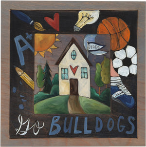 "Drake University 10""x10"" Plaque –  ""Go Bulldogs"" school plaque honoring Drake University"