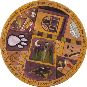 "University of Northern Iowa 20"" Lazy Susan –  Several sweet phrases enclose a campanile landscape"