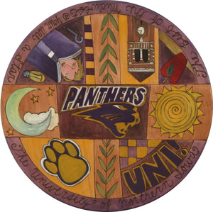"University of Northern Iowa 20"" Lazy Susan –  UNI themed crazy quilt motif"