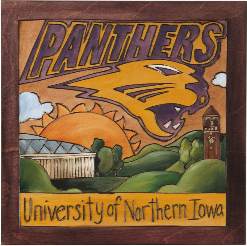 Sticks handmade University of Northern Iowa wall plaque