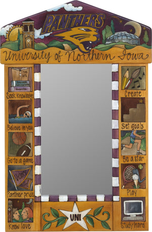 "University of Northern Iowa Small Mirror –  ""Panthers"" mirror with colorful block icons honoring UNI"