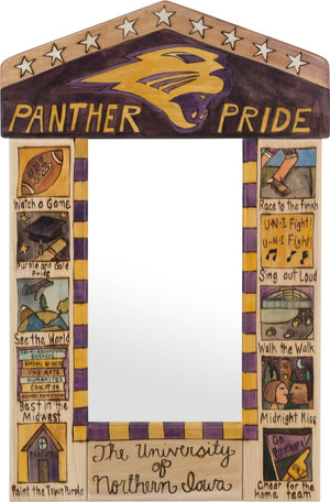 "University of Northern Iowa Small Mirror –  Powerful ""Panther Pride"" mirror with colorful block icons honoring UNI"