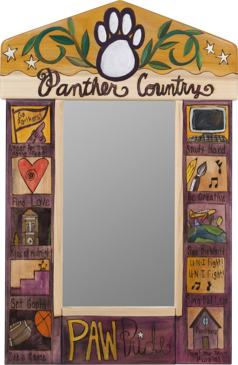 "University of Northern Iowa Small Mirror –  ""Panther Country"" mirror with colorful block icons honoring UNI"