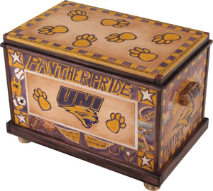 "University of Northern Iowa Chest –  Storage chest with UNI symbols throughout, ""Panther Pride"""