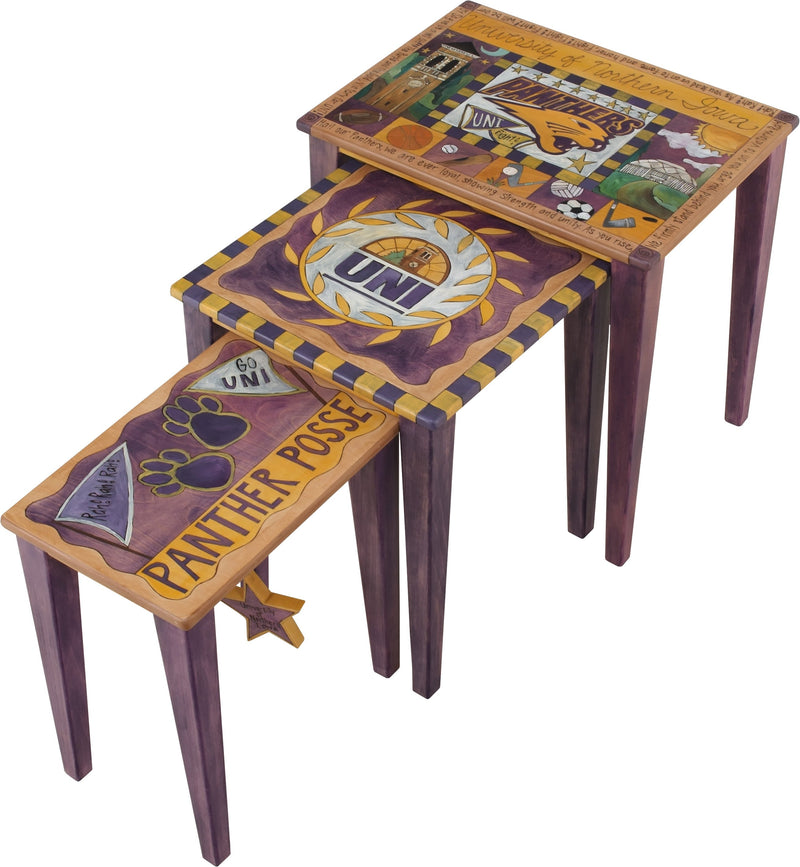 University of Northern Iowa Nesting Table Set –  Handsome set of nesting tables honoring the University of Northern Iowa