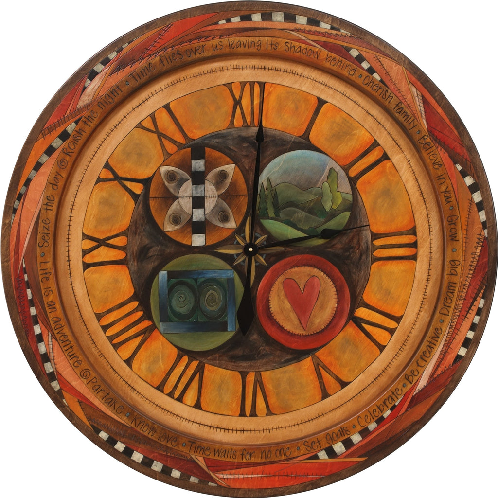 "Sticks handmade 36""D wall clock with roman numerals and abstract folk art design"