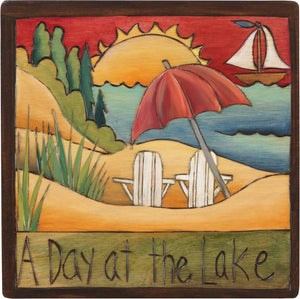 "7""x7"" Plaque –  Sit back and relax on your ""day at the lake"""
