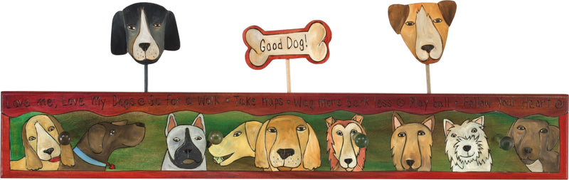 Sticks handmade coat rack with canine good dog design