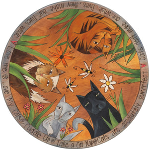 "Sticks Handmade 20""D lazy susan with cats, flower garden and bees"