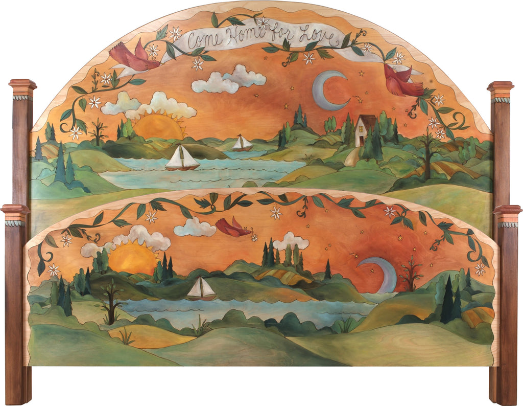 "Queen Bed –  ""Come Home for Love"" queen bed with sun and moon over sailboat on the lake motif"