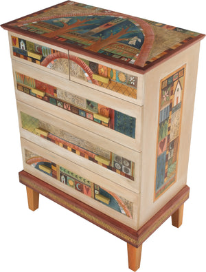 Tall Dresser –  Elegant and neutral dresser with tree of life motifs and colorful block icons throughout