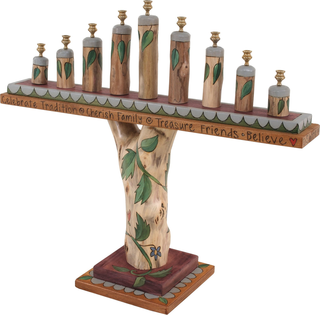 Log Menorah –  Natural and elegant menorah with birch and vine motifs