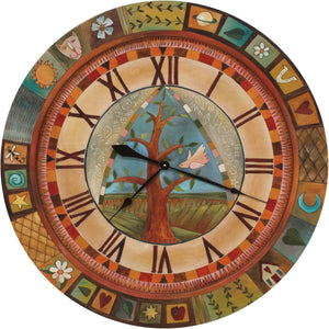 "Sticks handmade 36""D wall clock with tree of life and colorful life icons"