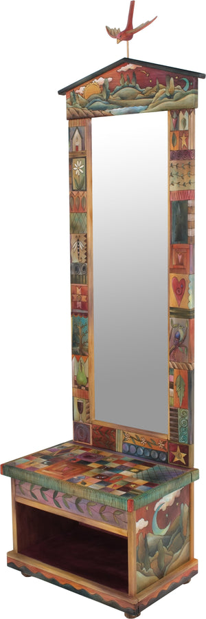 Hall Tree – Beautiful folk art hall tree with mirror and storage bench featuring birds, rolling landscapes with sun and moon, and many colorful block icons