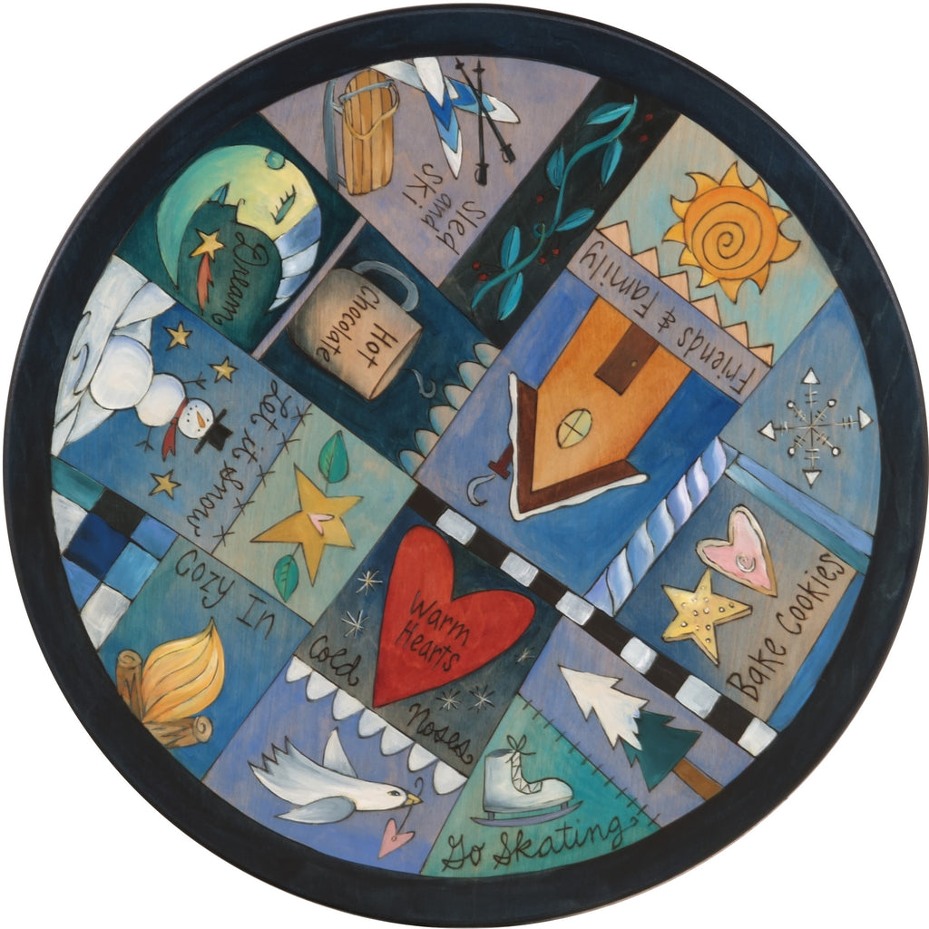 "Sticks Handmade 20""D lazy susan with winter icons in blue hues"