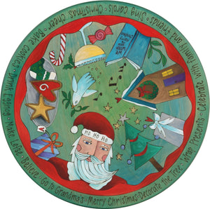 "Sticks Handmade 20""D lazy susan with Santa and Christmas icons in blue green hues"