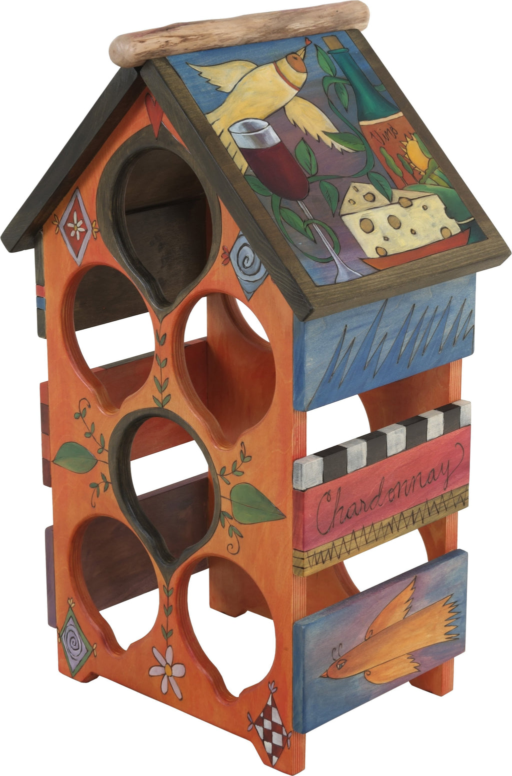 Sticks handmade wine rack with folk art imagery