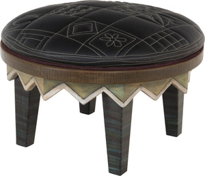 Round Ottoman –  Monochromatic and modern patchwork ottoman design achieved with contrast stitching main view