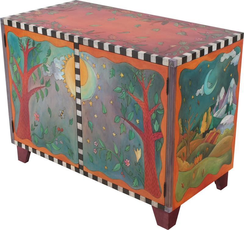 Media Buffet –  Lovely media cabinet painted in rich and vibrant hues