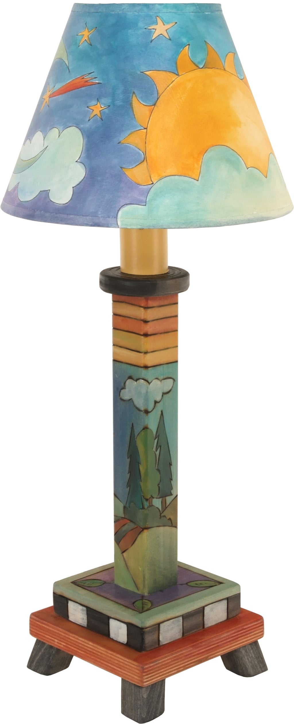 Milled Candlestick Lamp –  The cute landscape base and sky shade design on this lamp makes it perfect for a nightstand