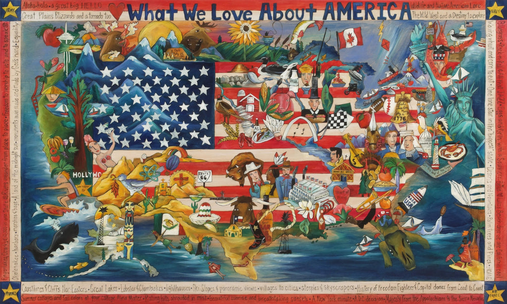 "What We Love About America Plaque –  ""What We Love About America"" plaque with beautiful scenes of different areas of the country motif"