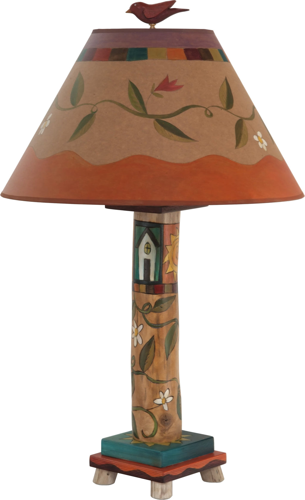 Log Table Lamp –  Elegant and neutral color palette table lamp with vine motifs and symbolic block icons