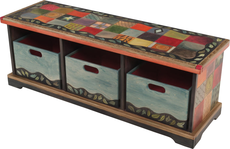 Storage Bench with Boxes –  Elegant and eclectic storage bench with colorful block icons and patterns
