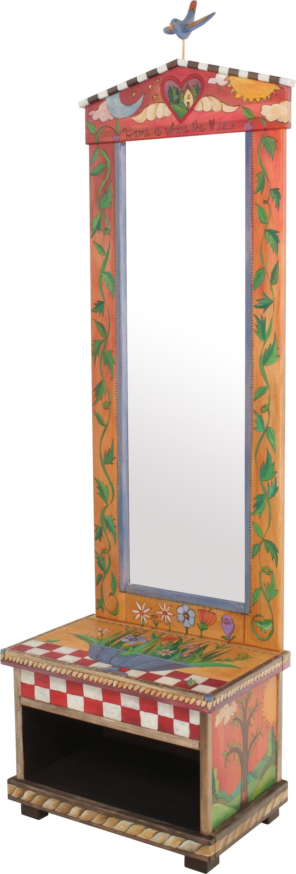 "Hall Tree –  ""Home is Where the Heart is,"" beautiful folk art hall tree with mirror and storage bench featuring vine motifs, floral elements and additional symbolic imagery"