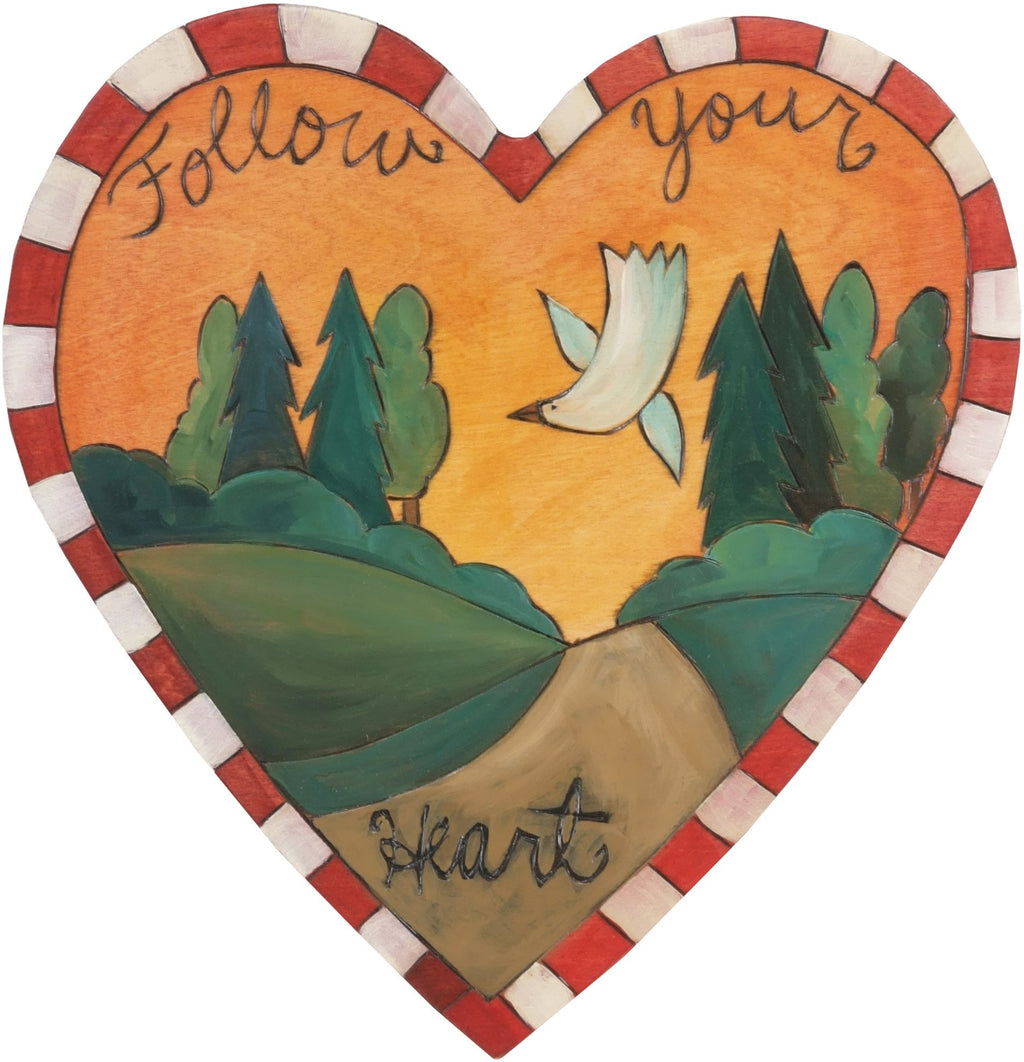 "Heart Shaped Plaque –  ""Follow Your Heart"" heart shaped plaque with landscape, path and dove"