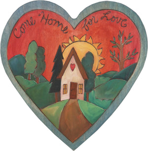"Heart Shaped Plaque –  ""Come Home for Love"" heart shaped plaque with heart home landscape"