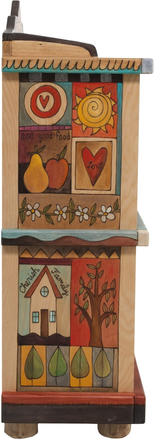 "Short Bookcase –  ""Cherish Family"" bookcase with nature-inspired motif and natural color palette"