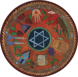 "Sticks Handmade 20"" judaica lazy susan with star of david in the center"