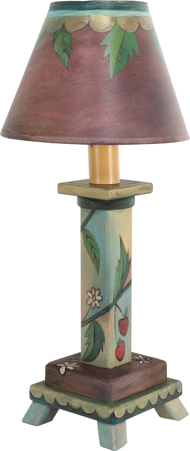 Milled Candlestick Lamp –  Floral vine motif lamp done in a rich, classic color palette