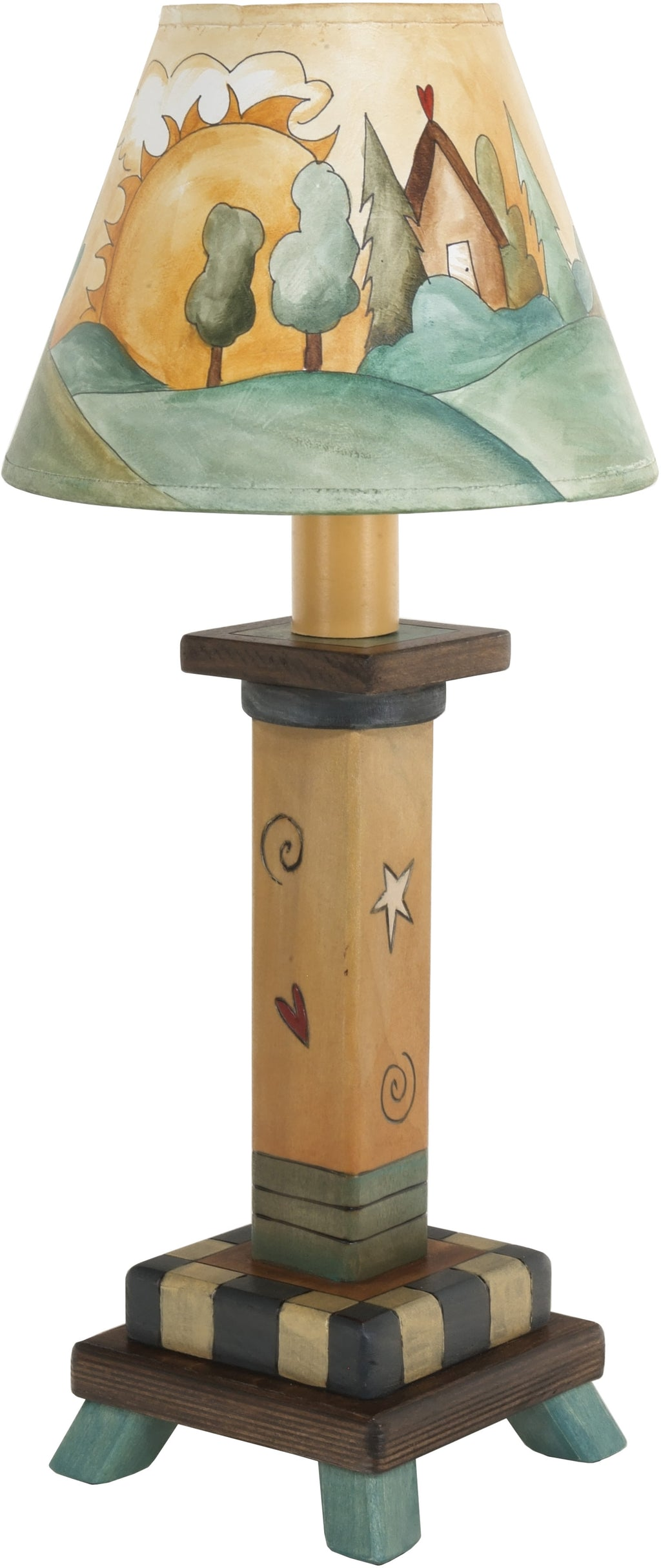 Milled Candlestick Lamp –  Lovely little lamp with a landscape motif filling the shade
