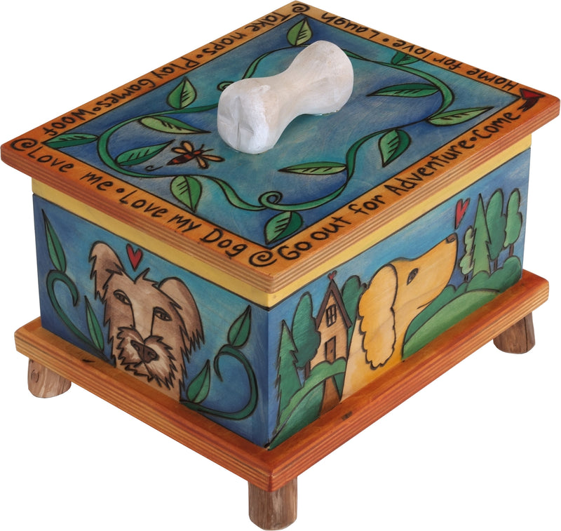 Pet Treat Box – Pups playing on rolling hills motif with a vibrant blue vibe