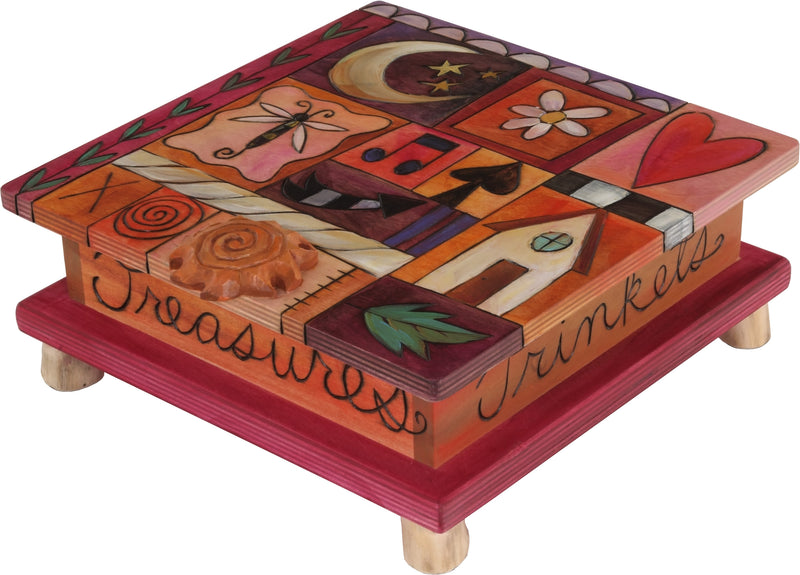 Keepsake Box – Cute crazy quilt design done in warm reds and oranges