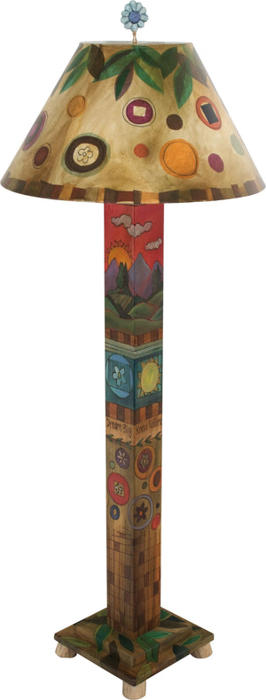 Box Floor Lamp –  Elegant floor lamp with block icons and contemporary floral elements