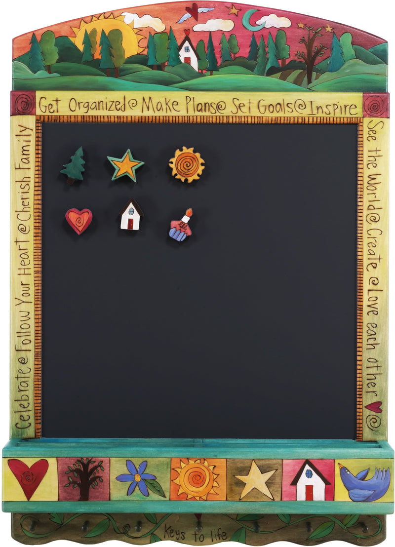 "Info Center –  ""Get Organized/Make Plans"" activity board with sunset on the horizon with moon motif"