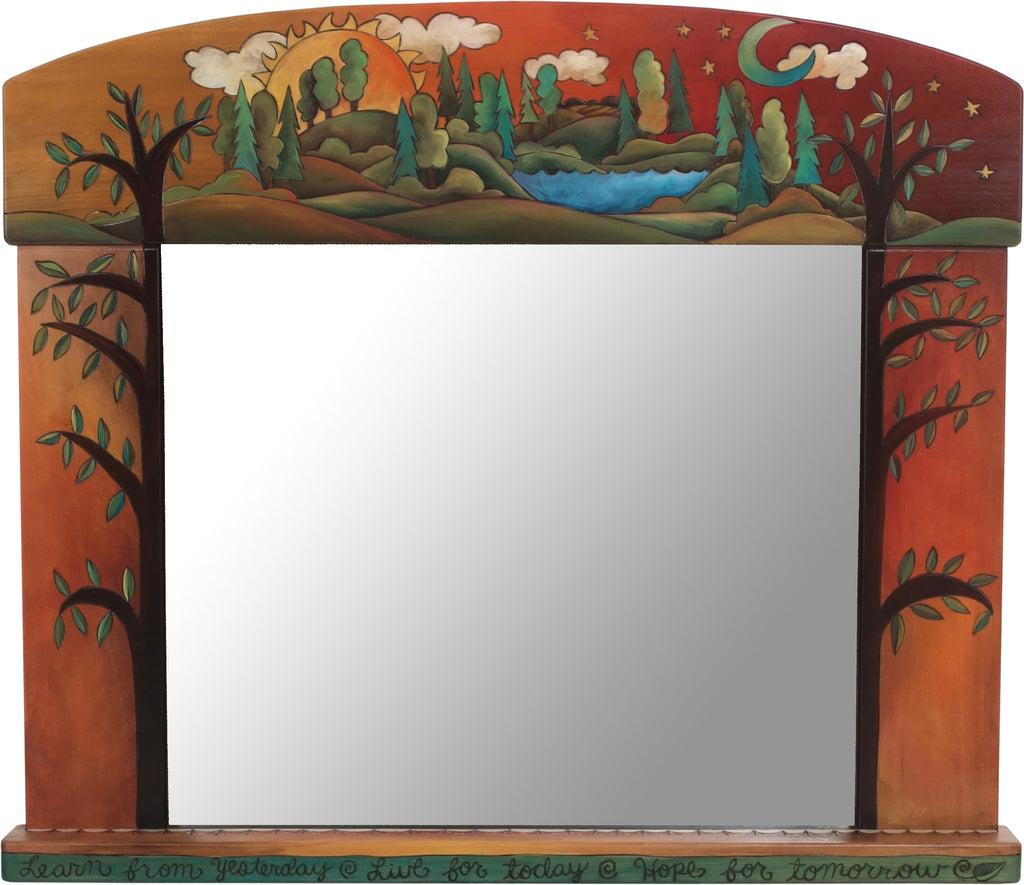 "Large Horizontal Mirror –  ""Learn from yesterday, live for today, hope for tomorrow"" gorgeous warm tree of life and rolling hills landscape motif"