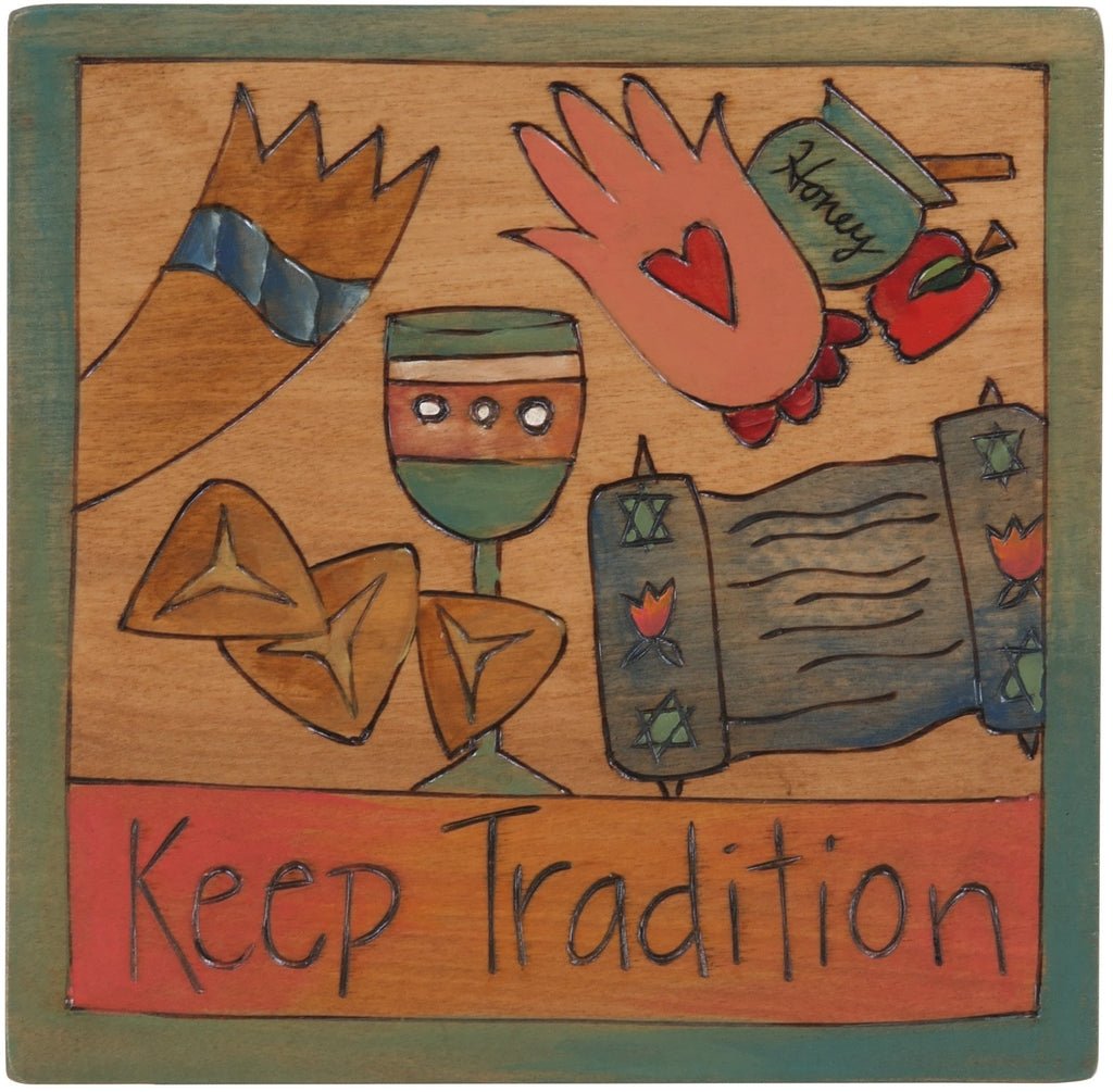 "7""x7"" Plaque –  ""Keep Tradition"" Judaica plaque with floating symbols"