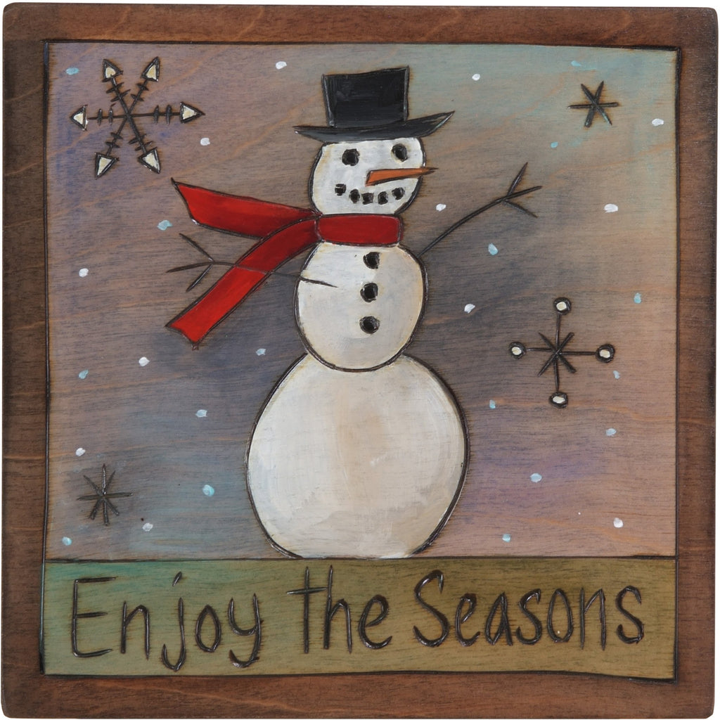 "7""x7"" Plaque –  ""Enjoy the Seasons"" plaque with smiley snowman motif"