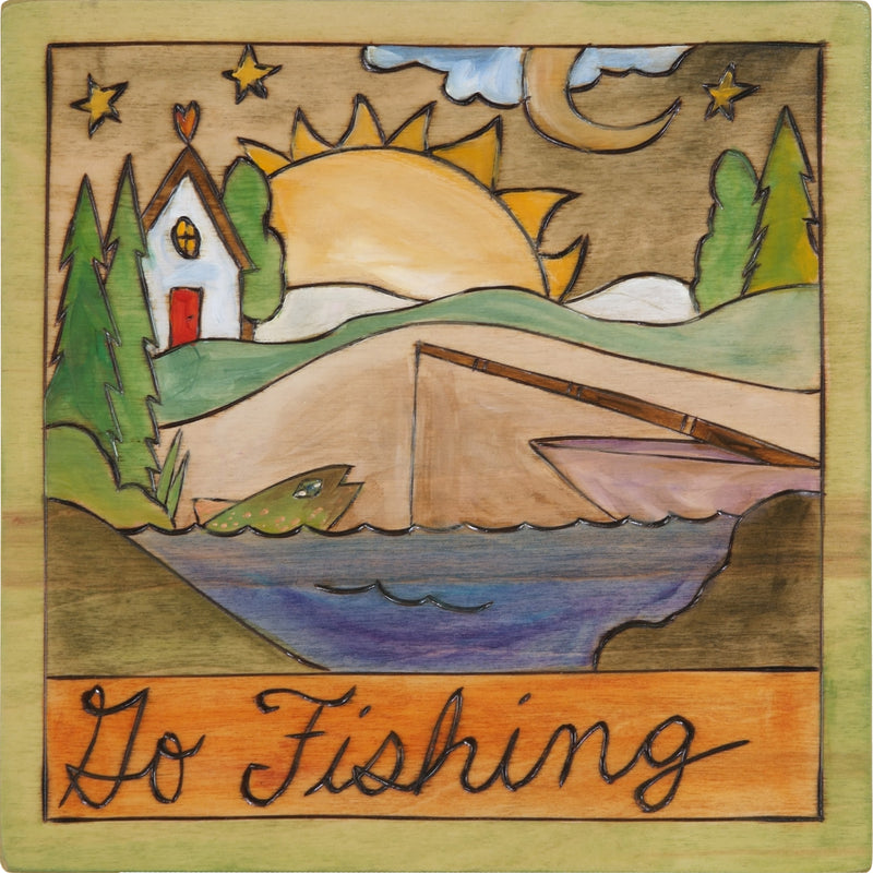 "7""x7"" Plaque –  ""Go fishing"" lake and fishing boat motif"